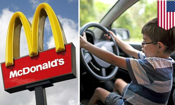 8歳の少年が父親の車を運転してマクドナルドへ!何で運転できるのwww