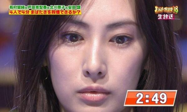 女優の北川景子が「4分間まばたき無し」偉業を成し遂げる!!